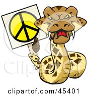 Royalty Free RF Clipart Illustration Of A Peaceful Rattlesnake Character Holding A Peace Sign With His Tail