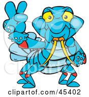 Royalty Free RF Clipart Illustration Of A Peaceful Crawdad Gesturing The Peace Sign