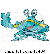 Royalty Free RF Clipart Illustration Of A Peaceful Crab Gesturing The Peace Sign by Dennis Holmes Designs