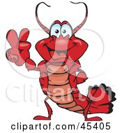 Royalty Free RF Clipart Illustration Of A Peaceful Lobster Gesturing The Peace Sign by Dennis Holmes Designs