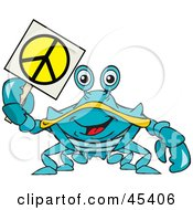 Royalty Free RF Clipart Illustration Of A Peaceful Crab Holding A Peace Sign