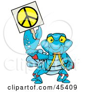 Royalty Free RF Clipart Illustration Of A Peaceful Crawdad Holding A Peace Sign