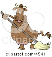 Happy Human-Like Cow The Mopping Floor