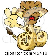 Royalty Free RF Clipart Illustration Of A Peaceful Rattlesnake Character Gesturing A Peace Sign