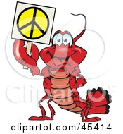 Royalty Free RF Clipart Illustration Of A Peaceful Lobster Holding A Peace Sign by Dennis Holmes Designs