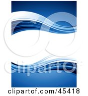 Royalty Free RF Clipart Illustration Of A Blank Wavy White Text Box Bordered In Blue Waves