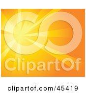 Royalty Free RF Clipart Illustration Of A Burst Of Orange Light On An Orange Background