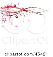 Royalty Free RF Clipart Illustration Of A Red Floral Border Of Waves Grasses And Blooms