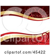Royalty Free RF Clipart Illustration Of A White And Gold Tex Banner Waving Over A Red Background With Hearts