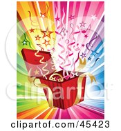 Royalty Free RF Clipart Illustration Of Streamers Stars And Music Notes Bursting From A Present On A Rainbow Background by TA Images #COLLC45423-0125