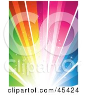 Royalty Free RF Clipart Illustration Of An Exploding Bright Rainbow Background by TA Images