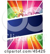 Royalty Free RF Clipart Illustration Of A Blue Diagonal Text Box With Stars And Circles Spanning A Rainbow Background by TA Images