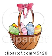 Royalty Free RF Clipart Illustration Of A Basket Of Chicken Eggs Colored For Easter