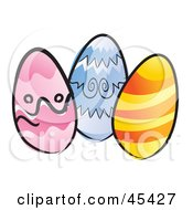 Royalty Free RF Clipart Illustration Of Three Chicken Eggs Colored For Easter