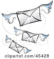 Royalty Free RF Clipart Illustration Of Three Flying Winged Air Mail Envelopes