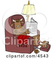 Relaxed Cow Sitting On A Recliner Chair And Reading A Newspaper Clipart