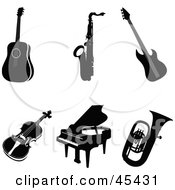 Royalty Free RF Clipart Illustration Of A Digital Collage Of Six Black Musical Instruments by TA Images