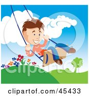 Happy Young Boy Swinging Outdoors On A Summer Day