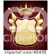 Royalty Free RF Clipart Illustration Of A Heraldic Golden Shield With A Crown On An Ornate Red Background by TA Images #COLLC45435-0125