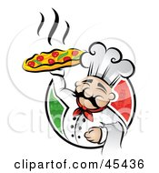 Royalty Free RF Clipart Illustration Of A Happy Chef Proudly Displaying A Hot Pizza Pie by TA Images #COLLC45436-0125