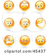 Royalty Free RF Clipart Illustration Of A Digital Collage Of Shiny Yellow Moody Faces by TA Images