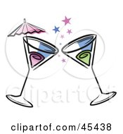 Two Toasting Cocktails With Stars And An Umbrella.
