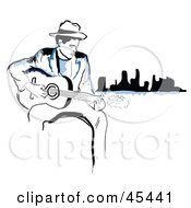 Black And Blue Man Sitting Near A City And Playing A Guitar