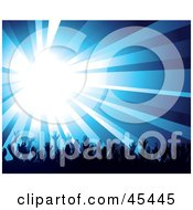 Royalty Free RF Clipart Illustration Of A Burst Of Bright Blue Light Over A Crowd Of Waving Hands