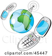 Royalty Free RF Clipart Illustration Of A Communications Tower Sending Signals To Two Networked Cellphones Around The Globe