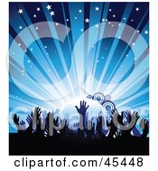 Royalty Free RF Clipart Illustration Of A Crowd Of Waving Hands Against A Bursting Blue Concert Background by TA Images