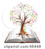 Royalty Free RF Clipart Illustration Of A Flowering Family Tree Growing On An Open Book by TA Images