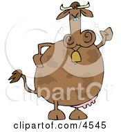 Mad Cow Wearing A Bell Clipart