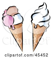 Royalty Free RF Clipart Illustration Of A Digital Collage Of Cosmopolitan And Vanilla Waffle Ice Cream Cones