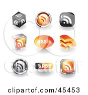 Royalty Free RF Clipart Illustration Of A Digital Collage Of RSS Icons by TA Images