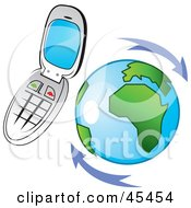 Royalty Free RF Clipart Illustration Of A Flip Cell Phone Hovering Around Planet Earth by TA Images