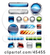 Royalty Free RF Clipart Illustration Of A Digital Collage Of Reflective Web Buttons by TA Images