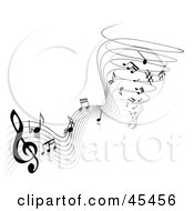 Royalty Free RF Clipart Illustration Of A Black And White Notes And Sheet Music Spiraling Into A Tornado by TA Images