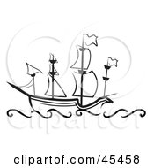Royalty Free RF Clipart Illustration Of A Black And White Sailing Great Ship At Sea