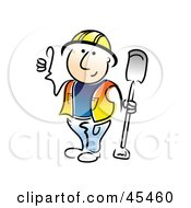 Friendly Construction Worker Holding A Shovel And Giving The Thumbs Up