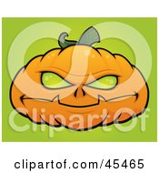 Royalty Free RF Clipart Illustration Of A Possessed Halloween Pumpkin With Green Eyes