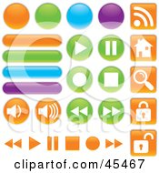 Royalty Free RF Clipart Illustration Of A Digital Collage Of Colorful Web Buttons In Different Shapes by John Schwegel #COLLC45467-0127