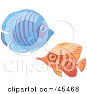 Royalty Free RF Clipart Illustration Of A Blue And Orange Tropical Fish Pair by John Schwegel