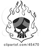 Royalty Free RF Clipart Illustration Of A Black Skull In White Flames
