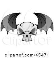 Royalty Free RF Clipart Illustration Of A Flying Evil Skull With Bat Wings by John Schwegel