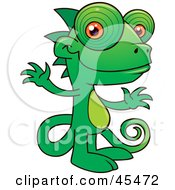 Happy Green Chameleon With Orange Beady Eyes
