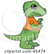 Royalty Free RF Clipart Illustration Of A Smiling Baby T Rex Dinosaur In An Orange Shirt by John Schwegel