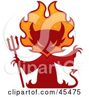 Royalty Free RF Clipart Illustration Of A Red Devil Silhouette With A Pitchfork And Flames by John Schwegel