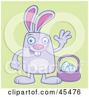 Waving Bunny Standing By Easter Eggs And A Basket