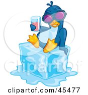 Royalty Free RF Clipart Illustration Of A Penguin Wearing Shades And Drinking Juice While Chilling On Melting Ice
