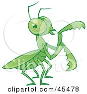 Royalty Free RF Clipart Illustration Of A Green Praying Mantis Moving Its Arms by John Schwegel